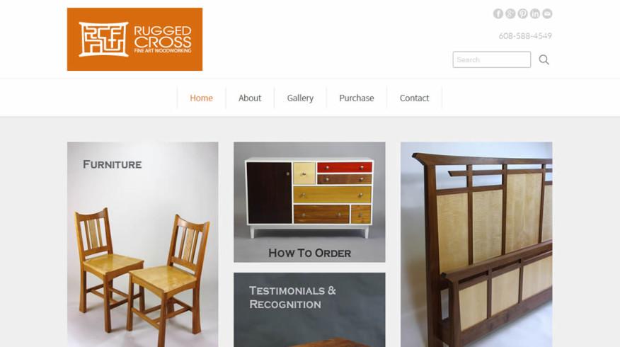 Rugged Cross Fine Art Woodworking website by New Sky Websites