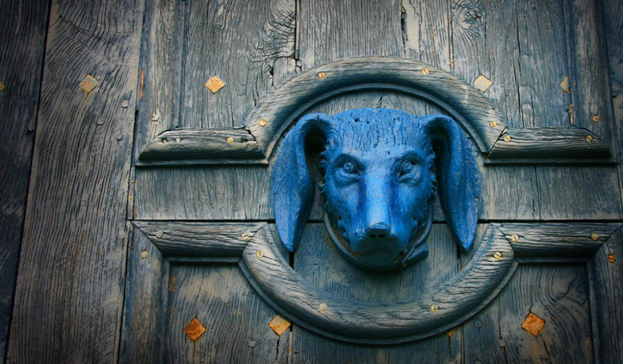 Blue Dog Door Knocker - Call to Action