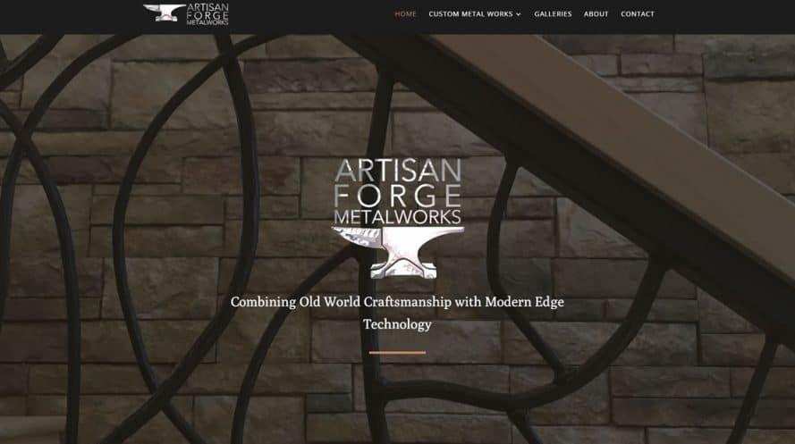 Artisan Forge Metalworks website by New Sky Websites