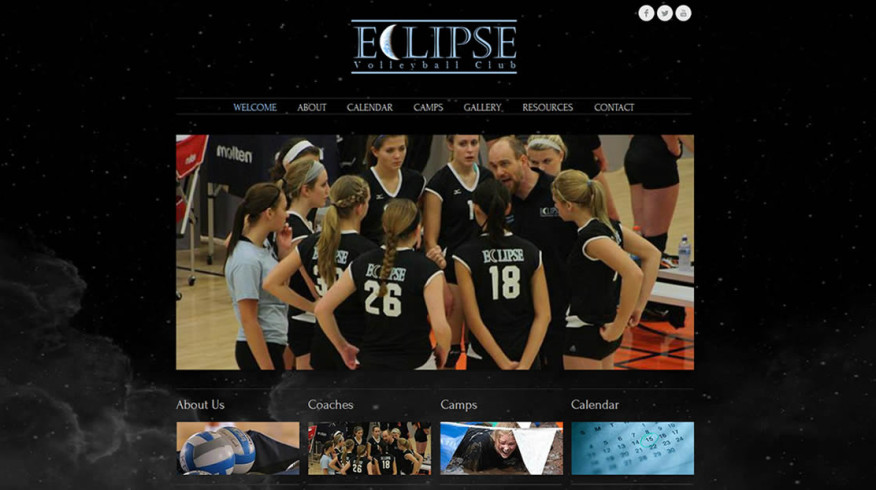 Eclipse Volleyball Club website by New Sky Websites