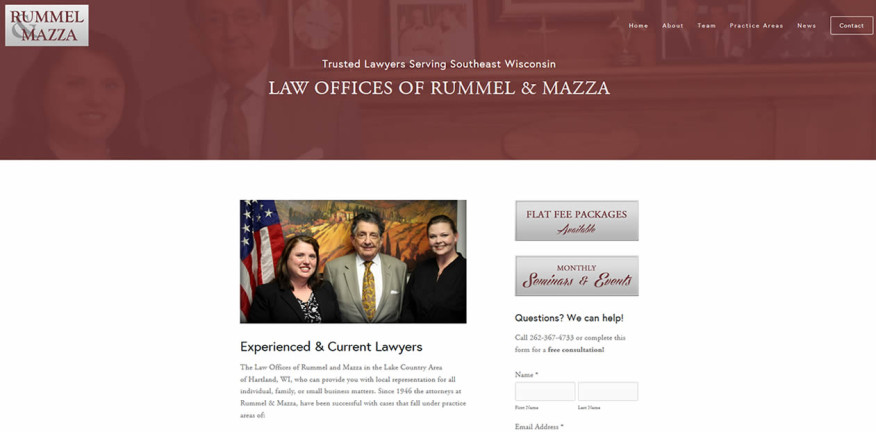 Law Offices of Rummel and Mazza website by New Sky Websites