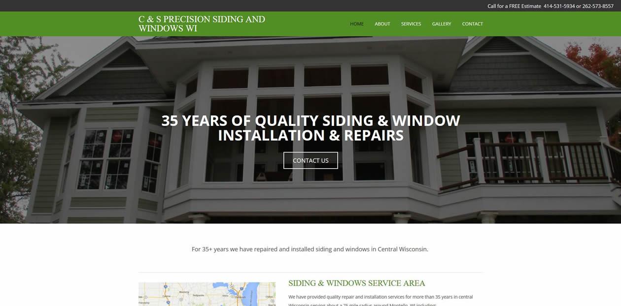C & S Precision Siding and Windows website by New Sky Websites