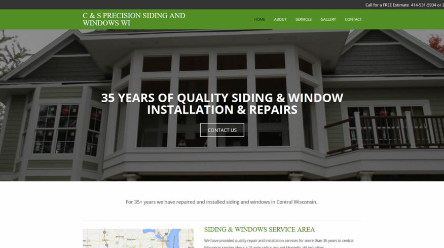 C & S Precision Siding and Windows website by New Sky Websites