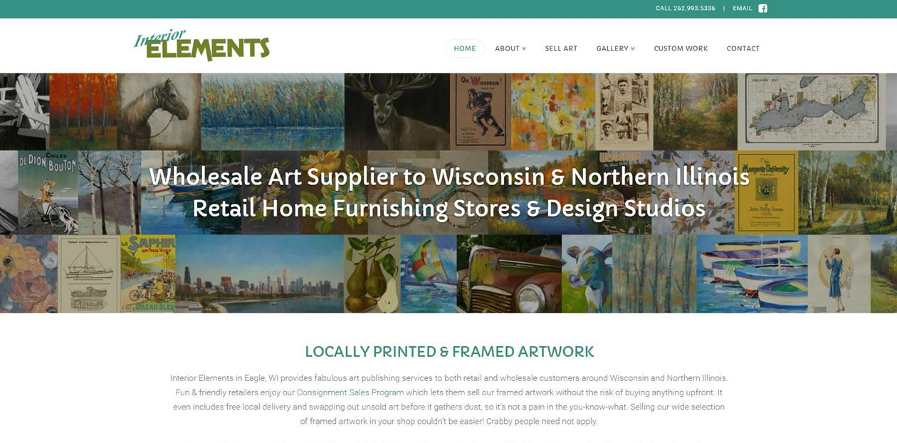 Interior Elements website by New Sky Websites in Hartland WI