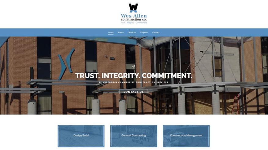 Wes Allen Construction website by New Sky Websites in Hartland WI