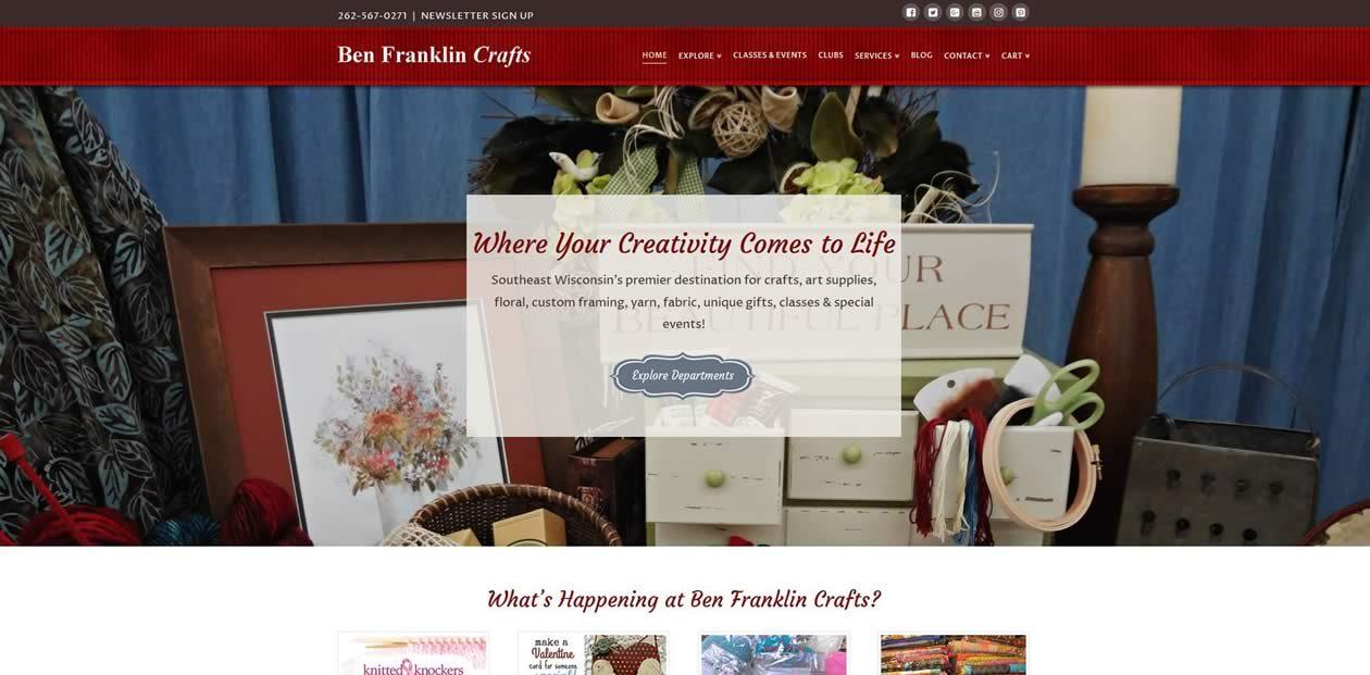 Ben Franklin Crafts website by New Sky Websites