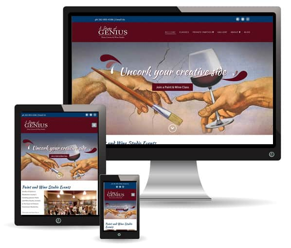 Stroke of Genius Paint and Wine bar website by New Sky
