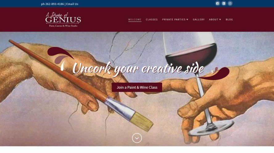 Stroke of Genius Paint Wine Studio website by New Sky Websites