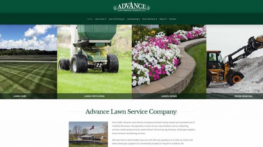 Advance Lawn Service Company website by New Sky Websites