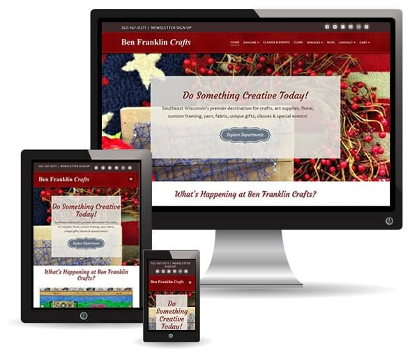 Ben Franklin Crafts website by New Sky Websites