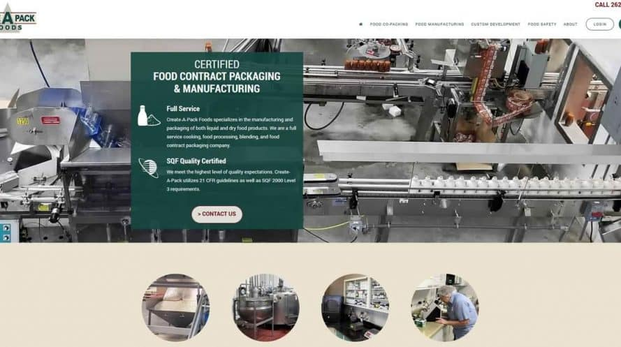 Create-A-Pack Foods website by New Sky Websites
