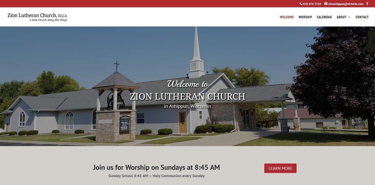 Zion Lutheran Church Ashippun website by New Sky Websites