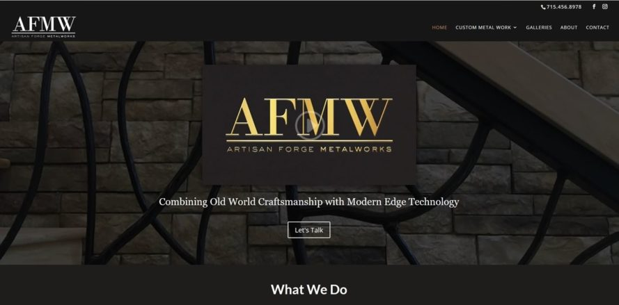 Artisan Forge Metalworks site by New Sky Websites