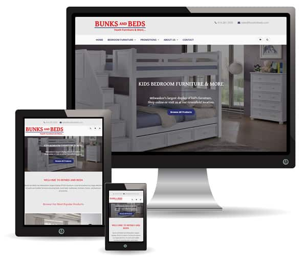 Bunks and Beds website by New Sky Websites