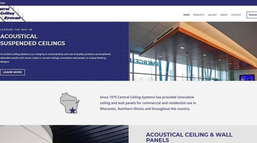 Central Ceiling Systems website by New Sky Websites