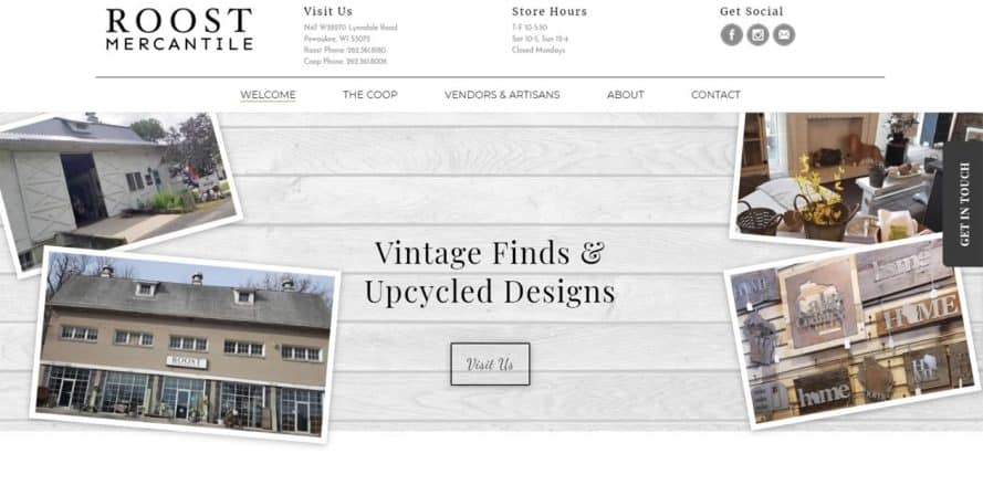 Roost Mercantile web design by New Sky Websites