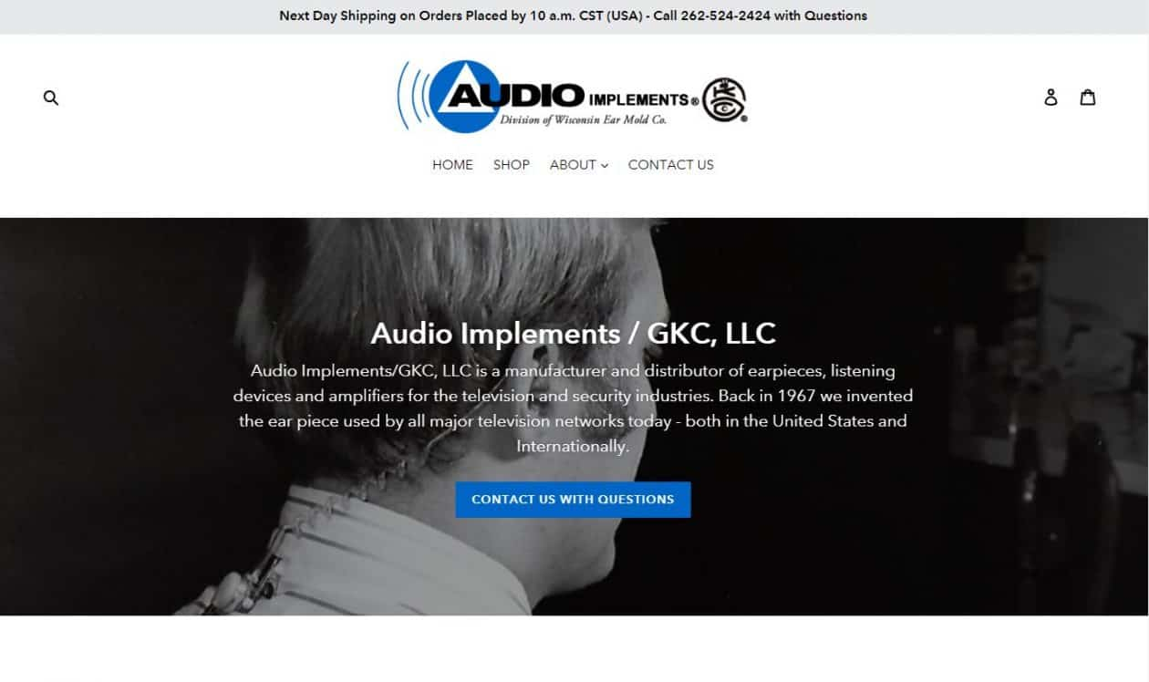 Audio Implements web design by New Sky Websites