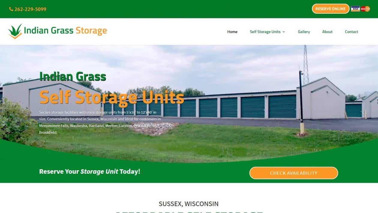 Indian Grass Storage web design by New Sky Websites