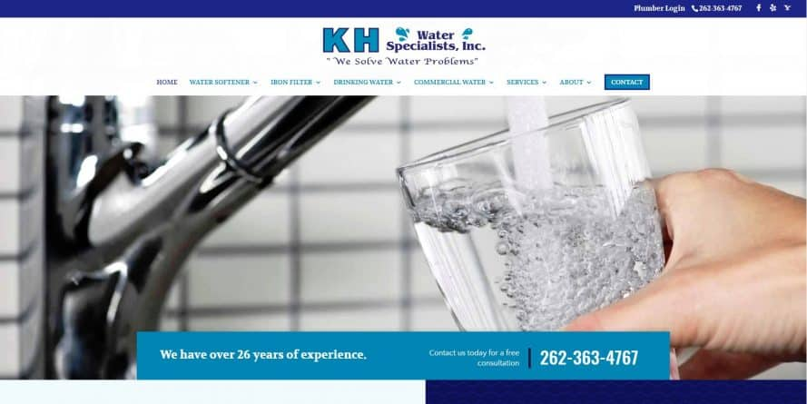 KH Water Specialists web design by New Sky Websites