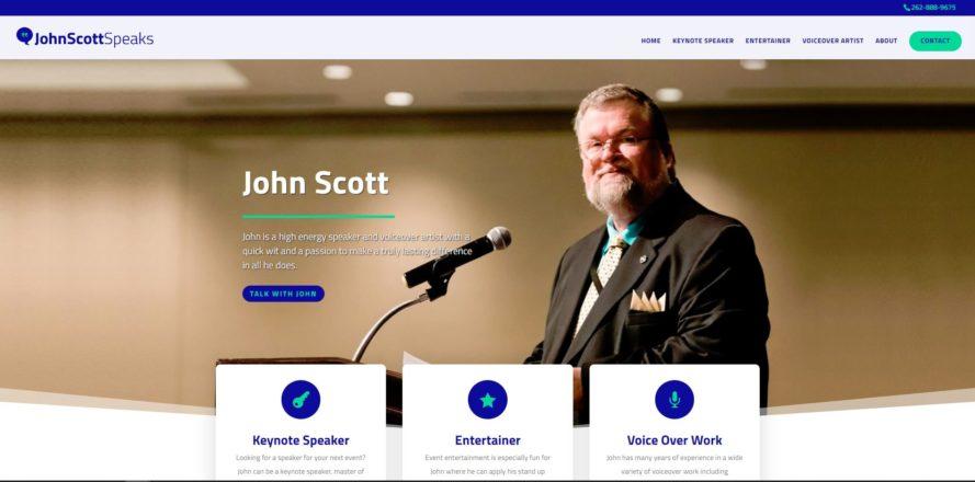John Scott Speaks web design by New Sky Websites