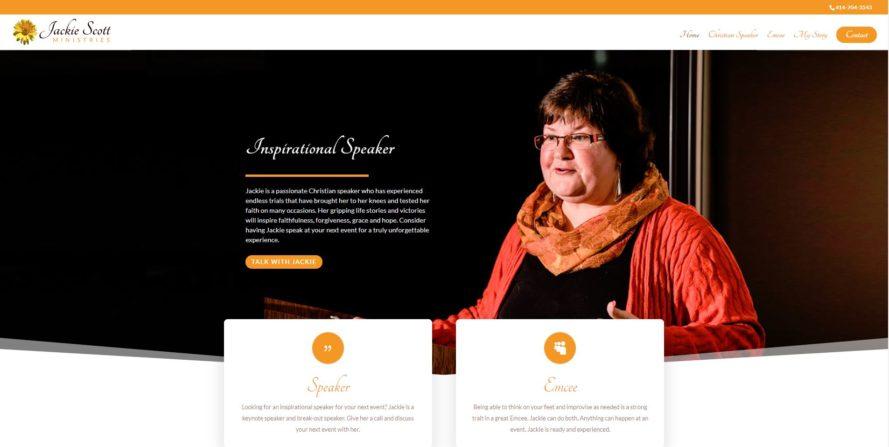 Jackie Scott Ministries web design by New Sky Websites