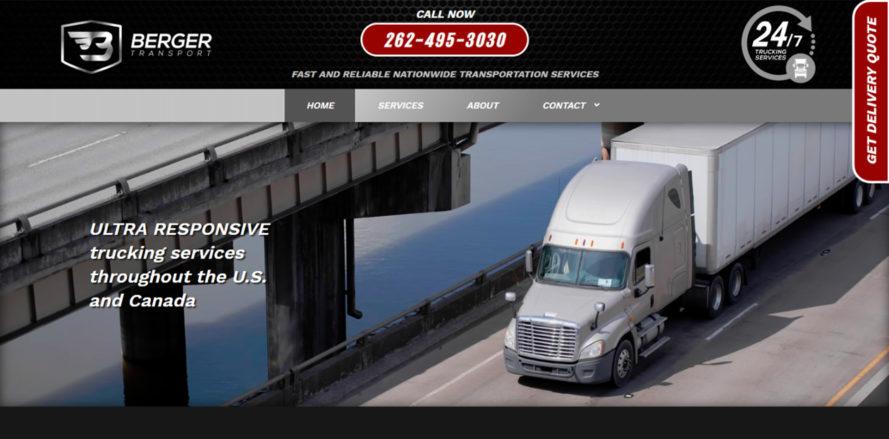 Berger Transport website design by New Sky Websites
